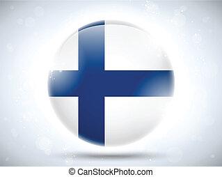 bouton, drapeau finlande, lustré