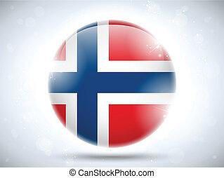 bouton, drapeau norvège, lustré