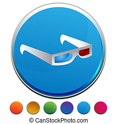 bouton, ensemble, 3d lunettes