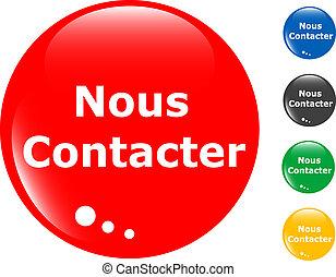 bouton, ensemble, coloré, nous, contact