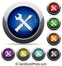 bouton, ensemble, outils