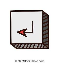 bouton, entrer, icône