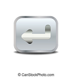 bouton, entrer, métal, icône