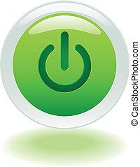 bouton, fermé, incandescent, puissance, ou