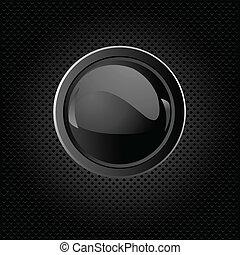 bouton, fond, noir