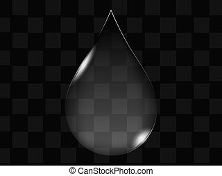 bouton, goutte, transparent, arrosez verre, vecteur, ou