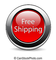 bouton, gratuite, expédition, rouges