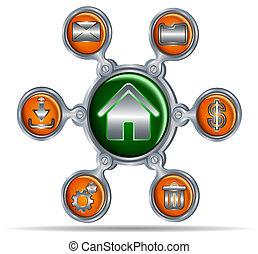 bouton, icônes, pour, site web