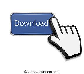 bouton, illustration, main, curseur, vecteur, téléchargement, souris