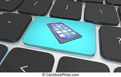 bouton, illustration, téléphone portable, clef informatique, nouveau, intelligent, 3d