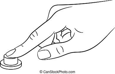 bouton, illustration, vecteur, femme, monochrome, fingerpress