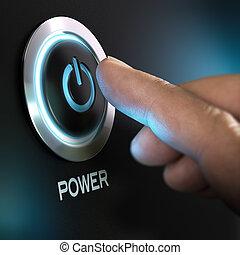 bouton, informatique, urgent, doigt, puissance