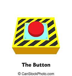 bouton, isolé, avertissement, fond, blanc rouge