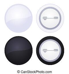 bouton, isolé, vecteur, vide, blanc, écusson