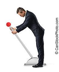 bouton, it., stands, débuts, mouvement, grand, homme affaires, levier, rond, rouges