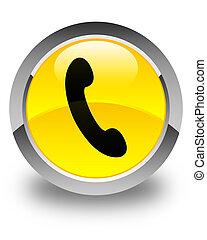 bouton, jaune, téléphone, lustré, rond, icône