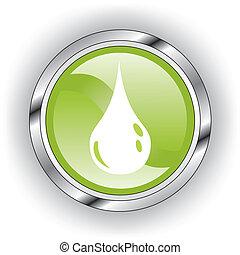 bouton, lustré, icône, toile, vert, ou