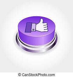 bouton, média, concept., social, aimer, pouce, perspective., haut