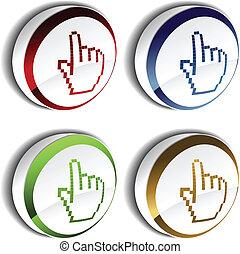 bouton, -, main, curseur, vecteur, indicateur