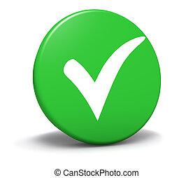 bouton, marque, vert, symbole, chèque