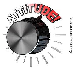 bouton, niveau, tourné, volume, attitude, réussir, plus haut