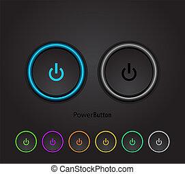 bouton noir, mené, puissance, lumière