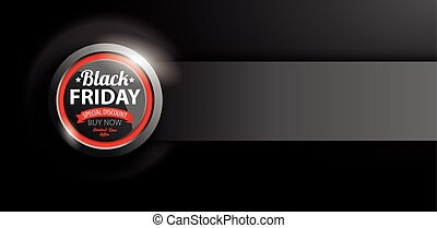 bouton noir, vendredi, bannière, puissance
