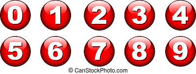 bouton, nombre, icône