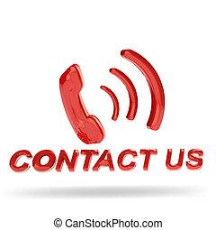 bouton, nous contacter, rouges, 3d