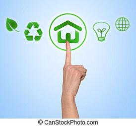 bouton poussée, femme, vert, main