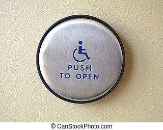 bouton poussée, ouvert