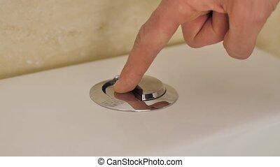 bouton, purger, doigt, toilette, pousser
