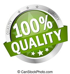 bouton, qualité, bannière, 100%