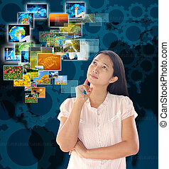 bouton, regarder, femme, multimédia, ruisseler, internet