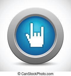 bouton, rocher, pixel, main