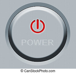 bouton, rond, puissance
