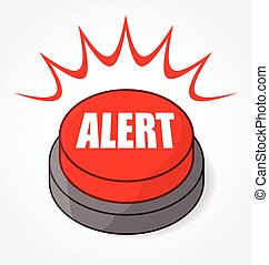 bouton, rouges, alerte, vecteur, grand, gyrophare