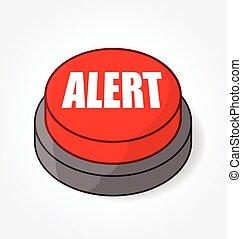 bouton, rouges, alerte, vecteur, grand, lumière