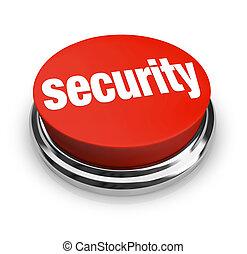 bouton, rouges, sécurité, mots, rond