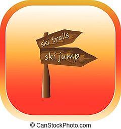 bouton, signe, flèche, ski, route, icône