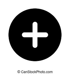 bouton, signe, plus, icône