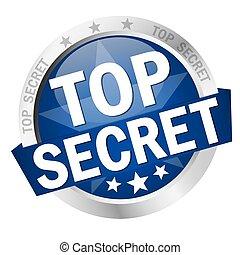bouton, sommet, bannière, top secret