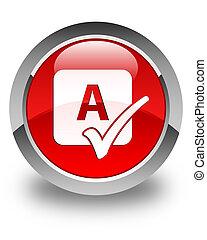 bouton, sortilège, rond, lustré, chèque, rouges, icône
