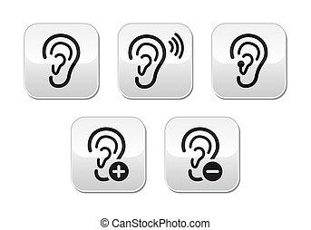 bouton, sourd, appareil acoustique, problème, oreille