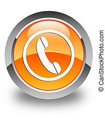 bouton, téléphone, lustré, orange, rond, icône