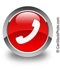 bouton, téléphone, lustré, rond, rouges, icône