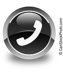 bouton, téléphone, noir, lustré, rond, icône