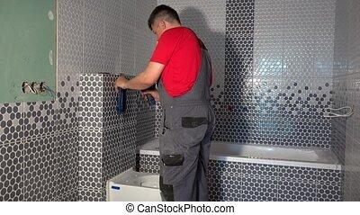 bouton, toilette, tournevis, monter, purger, eau, plombier