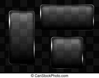 bouton, transparent, verre, boîtes, vecteur, ou