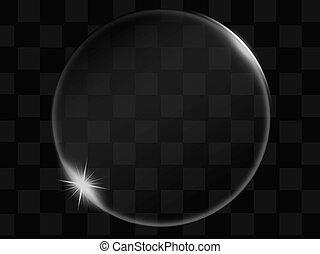 bouton, transparent, verre, vecteur, bulle, ou